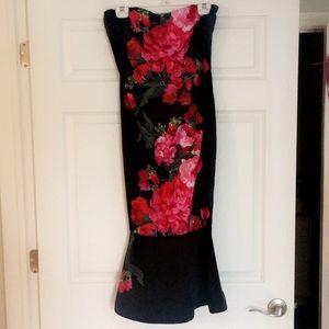 Lulumari Floral Strapless Dress